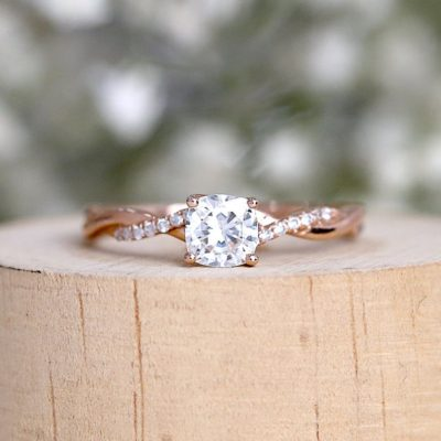1.50 Ct Cushion Cut Diamond Solitaire Engagement Gift Ring 14K Rose Gold