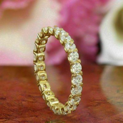 2.10 Round Cut Diamond Solitaire Full Eternity Wedding Band 14K Yellow Gold