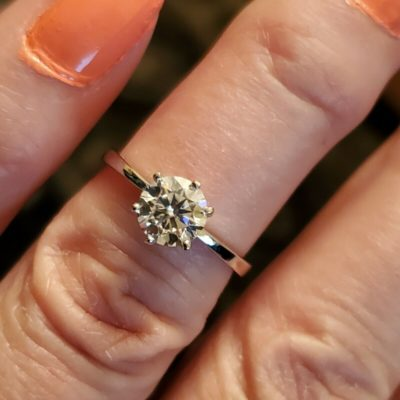 1.20 Ct Round Cut Moissanite Solitaire Fancy Anniversary Ring 10K White Gold