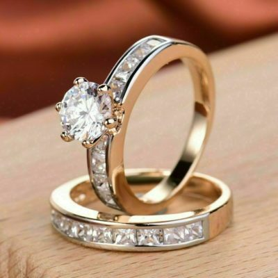 1.40 Ct Round Diamond With Side Princess Engagement Ring Set 10K Yellow Gold