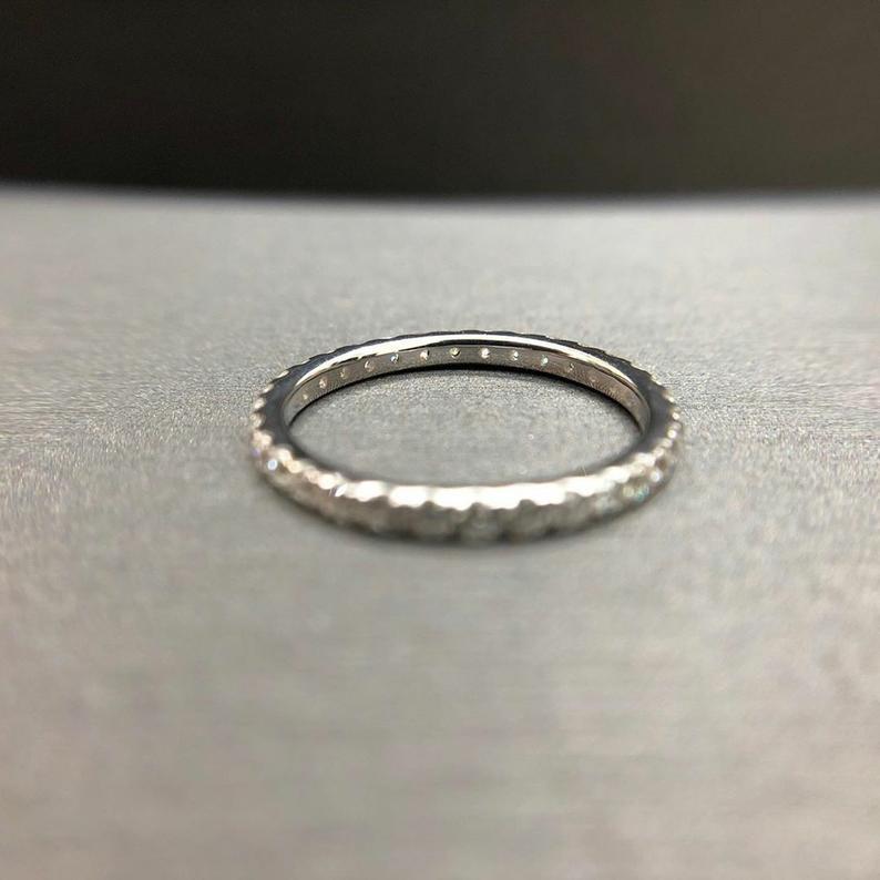 0.30 Brilliant Cut Diamond Micro Pave Full Eternity Wedding Band 14K White Gold