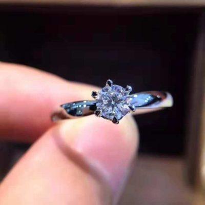 1.00 Ct Round Cut Moissanite Solitaire Unique Wedding Ring 14K White Gold