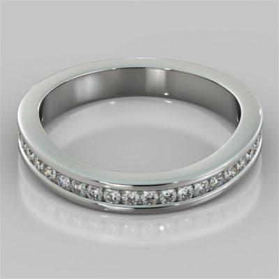 0.38 Ct Round Cut Moissanite Half Eternity Wedding Band 14K White Gold