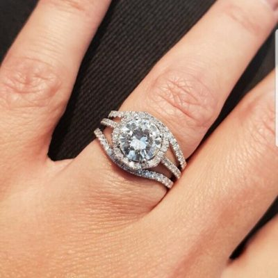 1.45 Ct Round Cut Moissanite Halo Trio Wedding Ring Set 14K White Gold