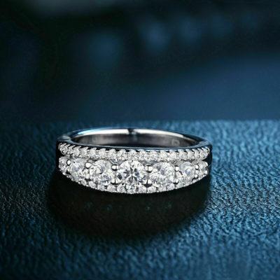 1.80 Ct Brilliant Cut Moissanite Half Eternity Unique Wedding Band 14K White Gold