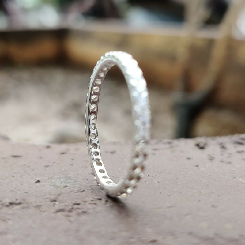 0.55 Ct Round Cut Moissanite Full Eternity Wedding Band 925 Sterling Silver
