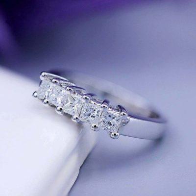 2 CT Princess Cut Moissanite 5-Stone Solitaire Unique Wedding Band 925 Sterling Silver