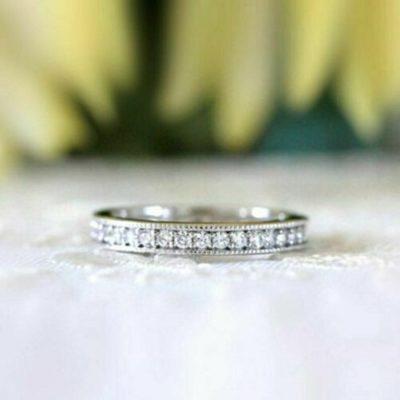 0.32 Ct Round Cut  Moissanite Full Eternity Wedding Band 14K White Gold