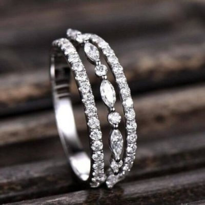 0.38 Round & Marquise Moissanite 3-Row Accents Wedding Band 10K White Gold