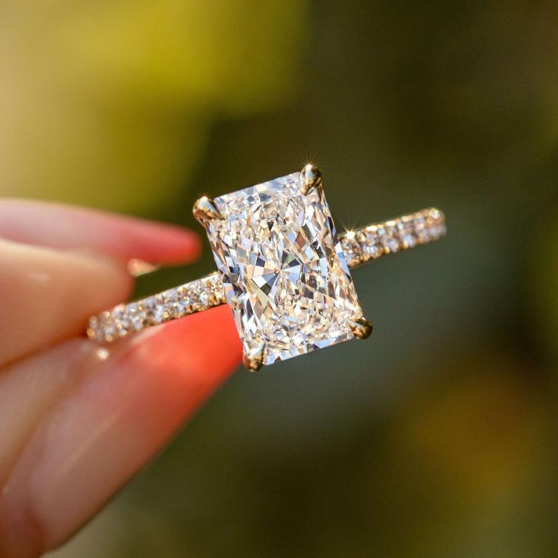 2 carat Radiant Cut Hidden Halo Ring