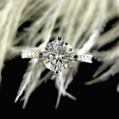 1.20 Ct Round Cut Moissanite 4-Prong Anniversary Gift Ring 10K White Gold