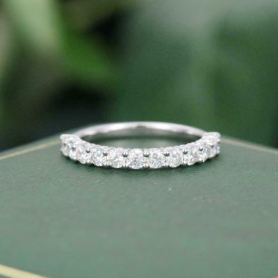 0.36 Ct Brilliant Round Moissanite Half Eternity Wedding Band 925 Sterling Silver