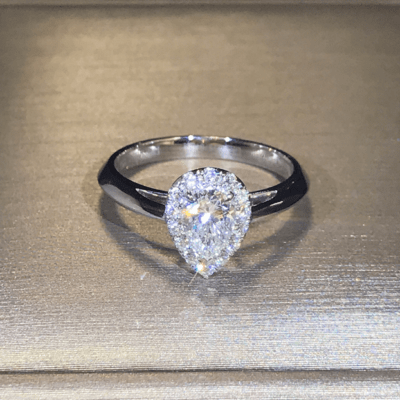 1.60 Ct Pear Cut Diamond Halo Fancy Engagement Ring 14K White Gold Over