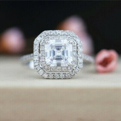1.50 Ct Asscher Cut Diamond Double Halo Engagement Ring 925 Sterling Silver