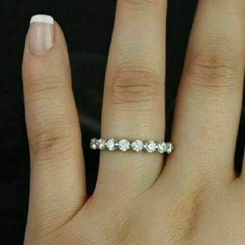 0.38 Ct Round Cut Moissanite Half Eternity Classic Wedding Band 925 Sterling Silver