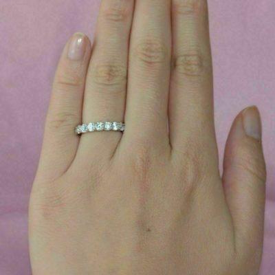 0.30 Ct Brilliant Round Moissanite Half Eternity Wedding Promise Band 14K White Gold