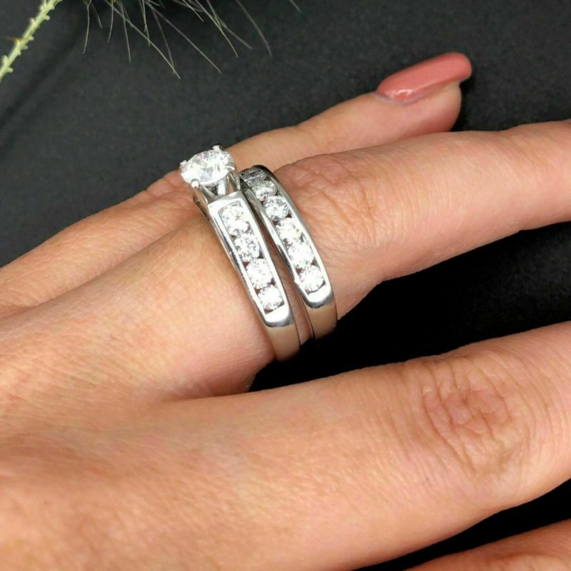 1.05 Ct Round Cut Moissanite Solitaire Wedding Ring Set Solid 14K White Gold