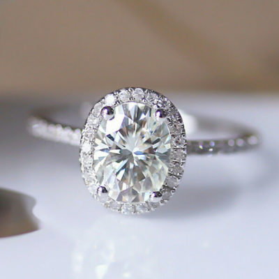 1.60 Ct Oval Cut Diamond Halo Classic Anniversary Ring 14K White Gold