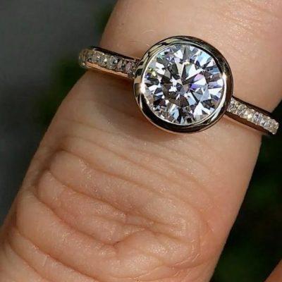 1.50 Ct Round Cut Moissanite Bezel Wedding Ring Set Solid 14K Yellow Gold