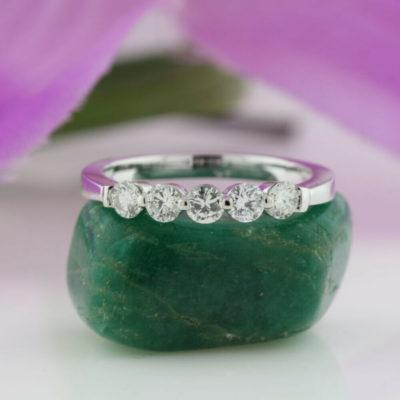 1.50 Ct Round Cut Moissanite 5-Stone Engagement Gift Band 14K White Gold