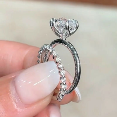 1.40 Ct Round Cut Moissanite Solitaire Wedding Ring Set 925 Sterling Silver