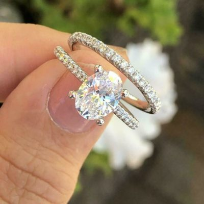 1.44 Ct Oval Cut Moissanite Solitaire Bridal Wedding Ring Set 925 Sterling Silver