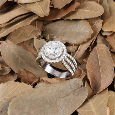 1.20 Ct Center Round Moissanite 3-Row Accents Engagement Ring Solid 14K White Gold