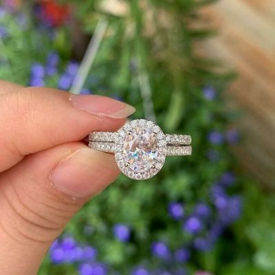 1.50 Ct Oval Cut Moissanite Halo Wedding Ring Set 14K White Gold Plated