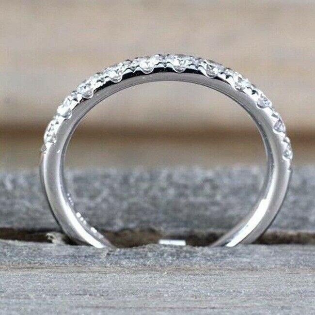 0.40 Ct Round Cut Moissanite Half Eternity Wedding Band 14K White Gold