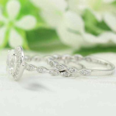 1.90 Ct Oval Cut Diamond Halo Art-Deco Wedding Ring Set 14K White Gold
