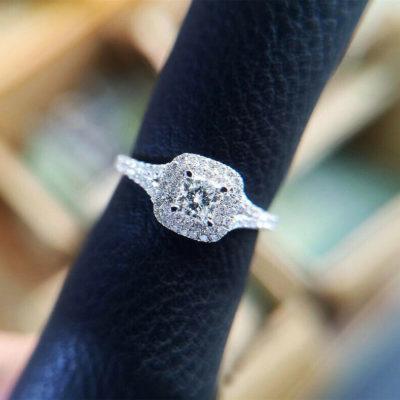 1.20 Ct Cushion Cut VVS1 Moissanite Double Halo Engagement Ring 14K White Gold