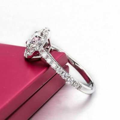 1.20 Ct Round Cut VVS1 Moissanite Halo Engagement Ring 14K White Gold