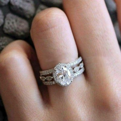 1.40 Ct Oval Cut Diamond Trio Wedding Ring Set 925 Sterling Silver