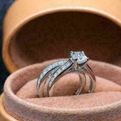 1.40 Ct Princess Cut Moissanite Solitaire Bridal Wedding Ring Set 14K White Gold