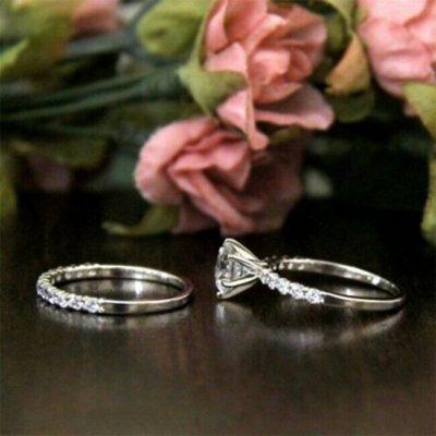 1.30 Ct Round Cut Moissanite Solitaire Wedding Ring Set 14K White Gold