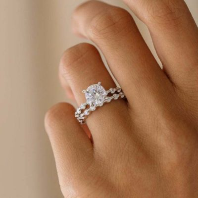 1.30 Ct Round Cut Moissanite Solitaire Wedding Ring Set 14K White Gold Plated