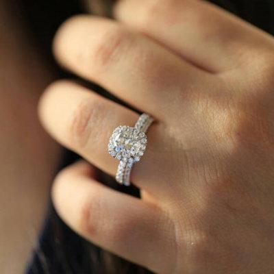 1.40 Ct Round Cut Moissanite Halo Classic Wedding Ring Set 14K White Gold