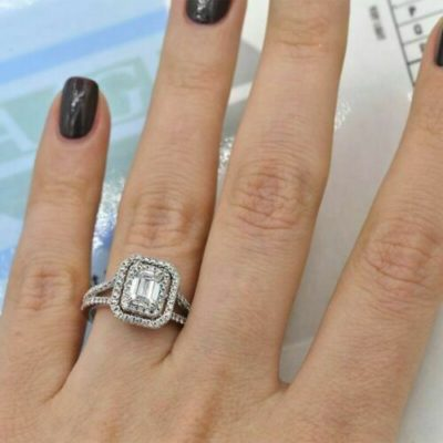 1.00 Carat Emerald Cut Moissanite Double Halo Engagement Gift Ring 925 Sterling Silver