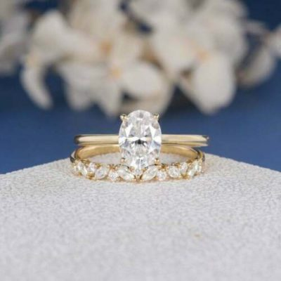 1.60 Ct Oval Cut Diamond Solitaire Engagement Ring Set 14K Yellow Gold Over
