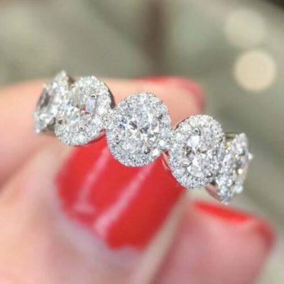 1.50 Carat Oval Cut Diamond 5-Stone Halo Classic Engagement Ring 14K White Gold
