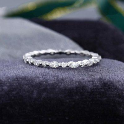 0.26 Carat Marquise & Round Cut Moissanite Half Eternity Wedding Band 14K White Gold