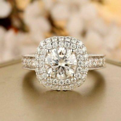 1.50 Carat Round Cut Moissanite Double Halo Wedding Gift Ring 14K White Gold