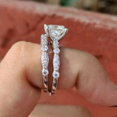 1.68 Ct Princess Cut Diamond Solitaire Wedding Ring Set 14K White Gold Plated