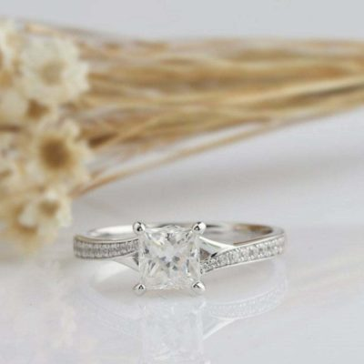 1.60 Ct Princess Cut VVS1 Diamond Solitaire Classic Engagement Ring 14K White Gold