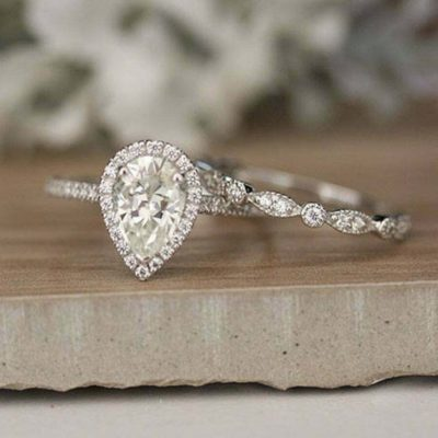 1.65 Carat Pear Cut Diamond Halo Wedding Gift Ring Set 10K White Gold Finish