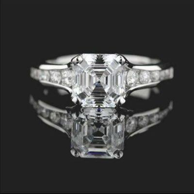 1.68 Ct Asscher Cut Diamond Solitaire Engagement Promise Ring 10K White Gold