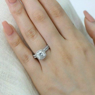 1.75 Ct Cushion Cut Diamond Halo Bridal Wedding Ring Set 14K White Gold