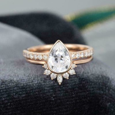 1.70 Ct Pear Cut Diamond Bezel Wedding Ring Set 14K Rose Gold Finish