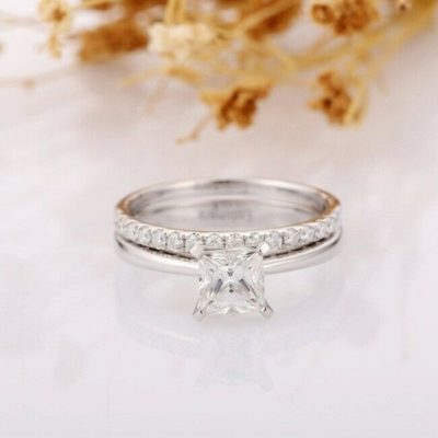 1.50 Ct Princess Cut Moissanite Solitaire Wedding Ring Set 14K White Gold Over