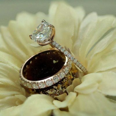 1.85 Ct Cushion Cut Diamond Solitaire Engagement Ring Set 14K Rose Gold